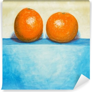 a painting of two oranges Washable Wall Mural