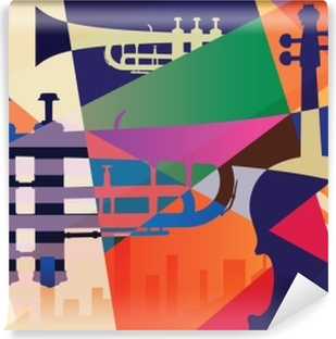 Abstract Jazz poster, music background Washable Wall Mural