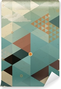 Abstract Retro Geometric Background with clouds Washable Wall Mural