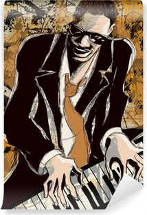 afro american jazz pianist Washable Wall Mural