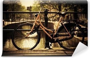 Amsterdam. Romantic canal bridge, bike Washable Wall Mural