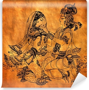 An old Radha Krishna painting Washable Wall Mural