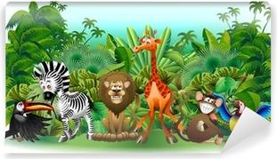 Animali Selvaggi Cartoon Giungla-Wild Animals Background-Vector Washable Wall Mural