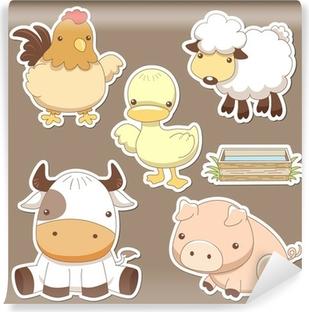 Animals farm set Washable Wall Mural