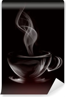 Artistic Illustration Smoke Cup Of Coffee on black Washable Wall Mural