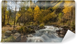 autumn landscape mountain river Washable Wall Mural