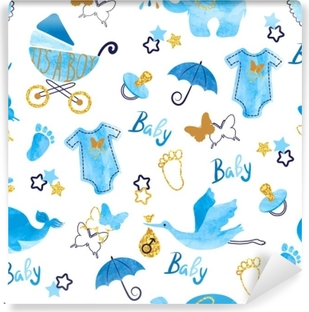 Baby shower boy seamless pattern. Vector watercolor kids background. Washable Wall Mural