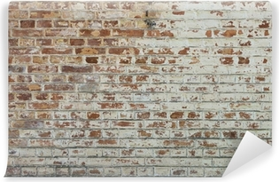Background of old vintage dirty brick wall with peeling plaster Washable Wall Mural