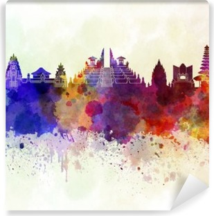 Bali skyline in watercolor background Washable Wall Mural
