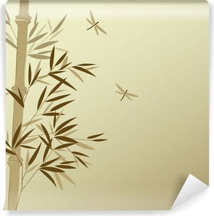 Bamboo with dragonflies in Chinese painting style Washable Wall Mural