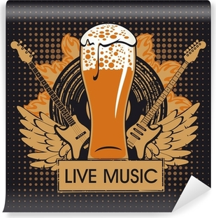 banner for the pub with live music Washable Wall Mural