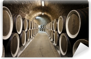 Barrels in the wine cellar Washable Wall Mural