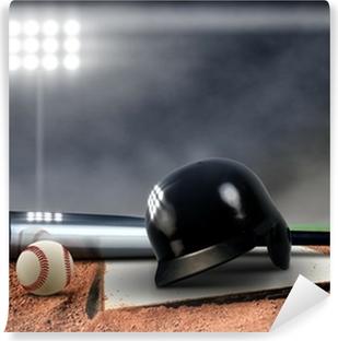 Baseball Equipment under spotlight Washable Wall Mural