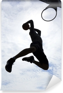 Basketball Player Slam Dunk Silhouette Washable Wall Mural