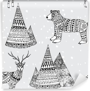 bear, deer and mountain hand drawn winter pattern Washable Wall Mural