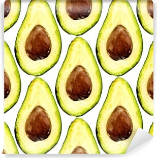 Beautiful avocado repeated pattern, consisted of halves of a fruit with pit. Vector illustration. Washable Wall Mural