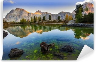 Beautiful lake in the Dolomite Mountains Washable Wall Mural
