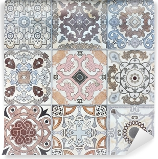 Beautiful old ceramic tile wall patterns in the park public. Washable Wall Mural