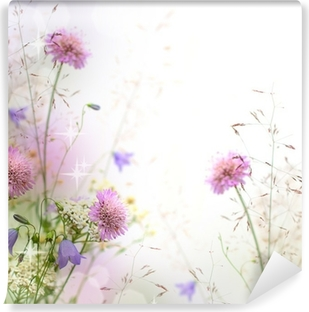 Beautiful pastel floral border - blurred background Washable Wall Mural