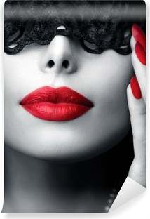 Beautiful Woman with Black Lace Mask over her Eyes Washable Wall Mural