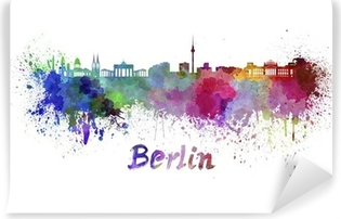 Berlin skyline in watercolor Washable Wall Mural
