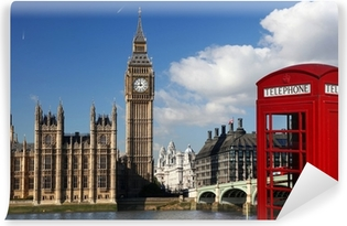 Big Ben with red telephone box in London, England Washable Wall Mural