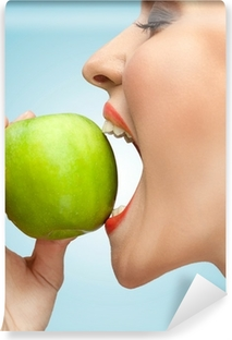 Biting apple. Washable Wall Mural