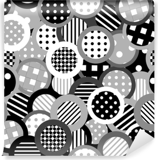 Black and white background with circles Washable Wall Mural