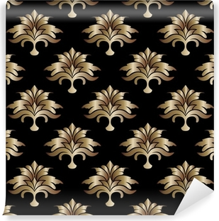 black background with golden flower leaves Poster • Pixers® • We