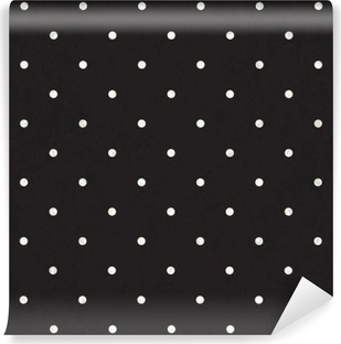 Black polka dot background Washable Wall Mural