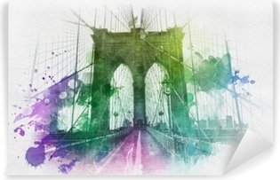 Blue, yellow and green watercolor paint splattering effect over the Brooklyn Bridge in New York city from front view Washable Wall Mural