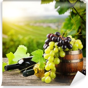 Bottles of red and white wine with fresh grape Washable Wall Mural