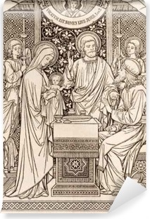 BRATISLAVA, SLOVAKIA, NOVEMBER - 21, 2016: The lithography of Presentation in the Temple by unknown artist with the initials F.M.S (1894) and printed by Typis Friderici Pustet. Washable Wall Mural