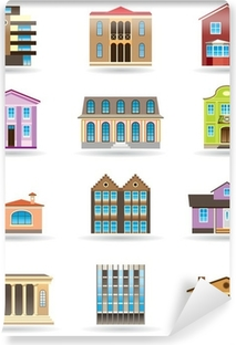 buildings and houses in different architectural styles poster
