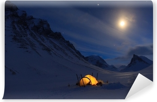 Camping in the mountains Washable Wall Mural