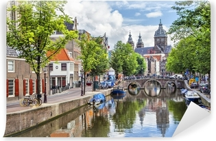 Canal and St. Nicolas Church in Amsterdam Washable Wall Mural