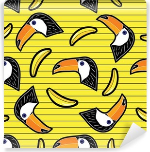 cartoon patch badges with banana and toucan Washable Wall Mural