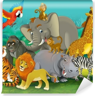 Cartoon safari - illustration for the children Washable Wall Mural