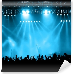Cheering crowd at concert, musicians on the stage Washable Wall Mural