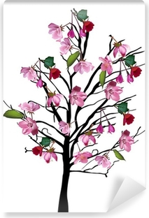 Cherry tree with large pink flowers on white sticker pixers we cherry tree with large pink flowers on white self adhesive wall mural mightylinksfo