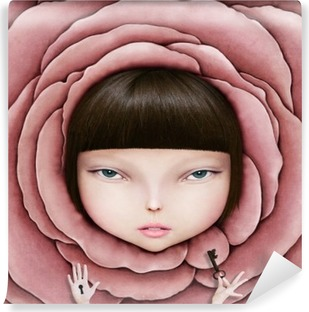 Conceptual illustration or poster with head of girl in rose petal with key in his hand. Washable Wall Mural