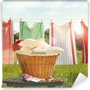 Cotton towels drying on the clothesline Washable Wall Mural