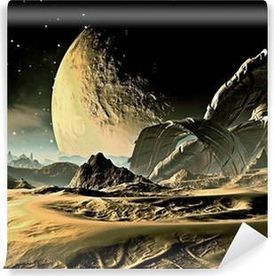 Crashed Alien Spaceship on Distant World Washable Wall Mural