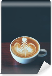 cup of coffee latte art in coffee shop Washable Wall Mural