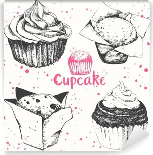 Cupcakes and muffins. Set of hand drawn cakes. Washable Wall Mural