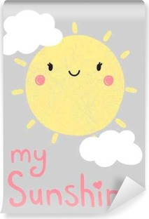 cute cartoon sun graphic, vector, illustration Washable Wall Mural