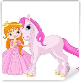 Cute Princess and Unicorn Washable Wall Mural