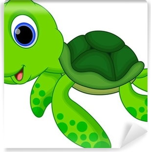 Cute turtle cartoon Washable Wall Mural