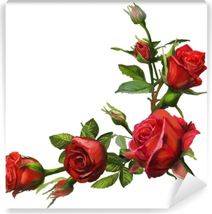Decorations of red roses blooms Washable Wall Mural