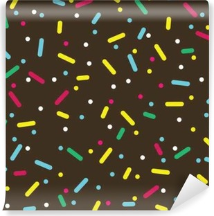 Donut glaze seamless pattern. Cream texture with topping of colorful sprinkles and beads on chocolate background. Food bakery decoration. Vector eps8 illustration. Washable Wall Mural